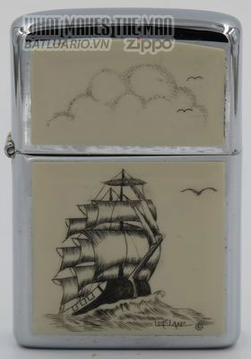 Zippo 1980 with sailing ship scrimshawed by Lois McLane