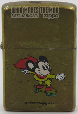 Zippo 1982 Mighty Mouse on skate board