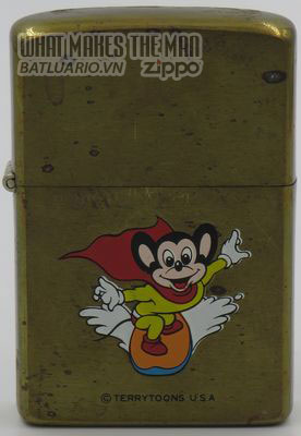 Zippo 1982 Mighty Mouse on surfboard