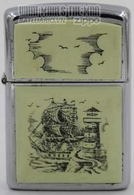 Zippo 1988 Scrimshaw Tall ship & lighthouse