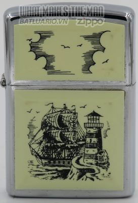 Zippo 1992 Scrimshaw Tall Ship & Lighthouse