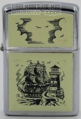 Zippo 1992 Scrimshaw Tall Ship & Lighthouse