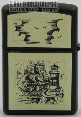 Zippo 1993 Scrimshaw Tall Ship & Lighthouse on black
