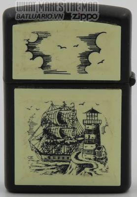 Zippo 1993 Scrimshaw Tall Ship & Lighthouse on black