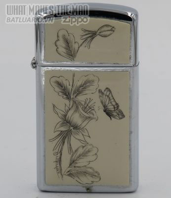 Zippo Slim 1980 butterfly flowers scrimshawed by Lois McLane