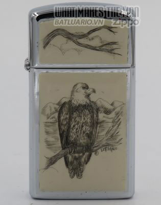Zippo Slim 1980 with bald eagle scrimshawed by Lois McLane