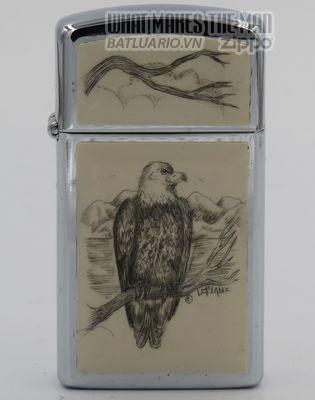 Zippo Slim 1980 with bald eagle scrimshawed by Lois McLane