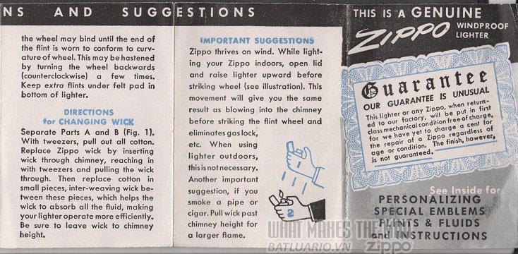giấy hướng dẫn sử dụng zippo canada 1950s 2