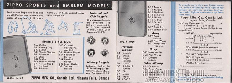 giấy hướng dẫn sử dụng zippo canada 1950s 4