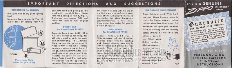 giấy hướng dẫn sử dụng zippo canada 1950s 6