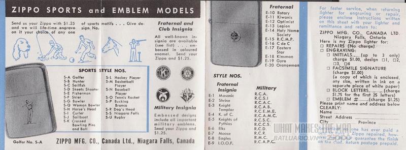 giấy hướng dẫn sử dụng zippo canada 1950s 8