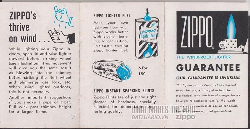 giấy hướng dẫn sử dụng zippo canada 1960s 1