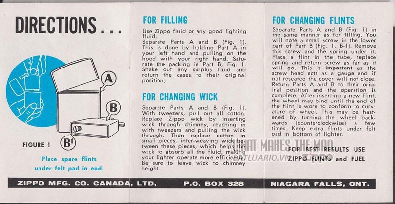 giấy hướng dẫn sử dụng zippo canada 1960s 2