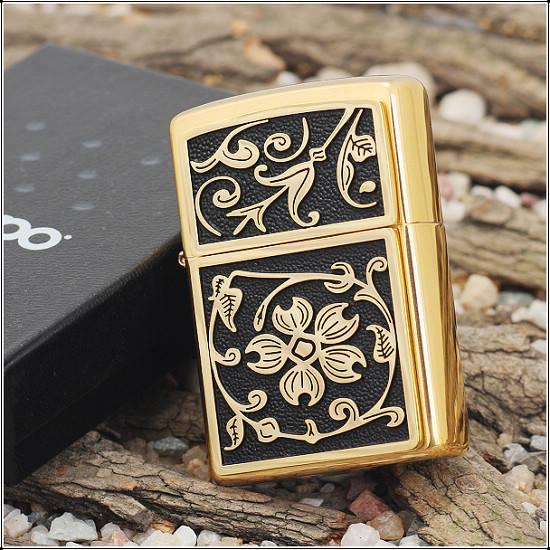 Zippo 20903 - Zippo Gold Floral Flush Emblem Brushed Brass 1