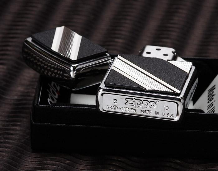 Zippo 24872 - Zippo Double Diagonal Emblem Brushed Chrome 2