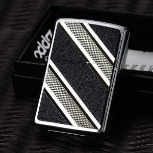 Zippo 24872 - Zippo Double Diagonal Emblem Brushed Chrome 3