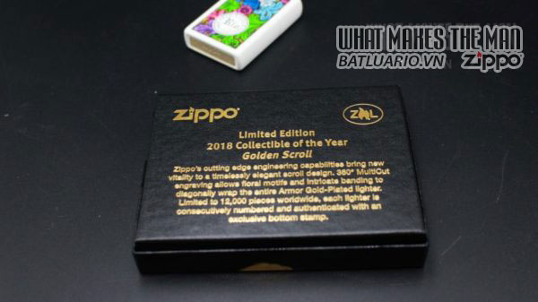 Zippo 2018 Collectible of the Year Gold Plated Armor -ZIPPO COTY 2018 - Zippo GOLDEN SCROLL 12