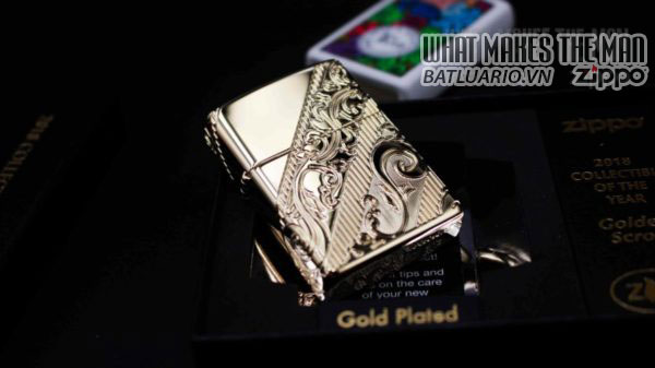 Zippo 2018 Collectible of the Year Gold Plated Armor -ZIPPO COTY 2018 - Zippo GOLDEN SCROLL 7