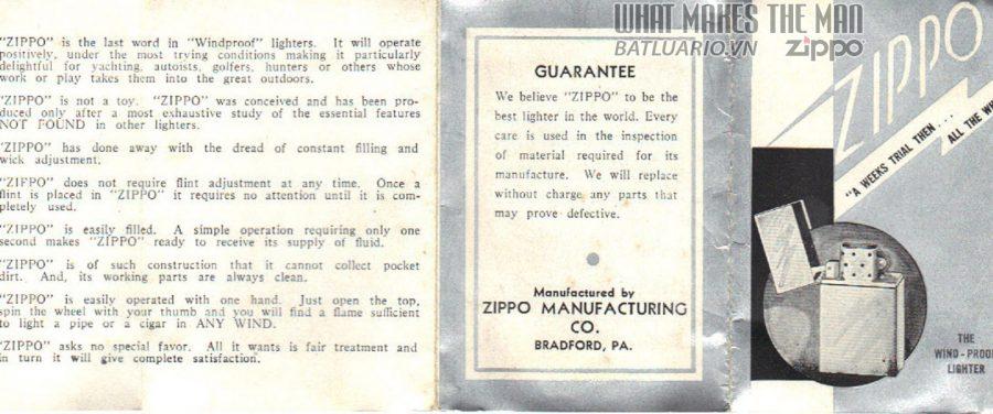 giấy hướng dẫn sử dụng zippo năm 1933-36 1