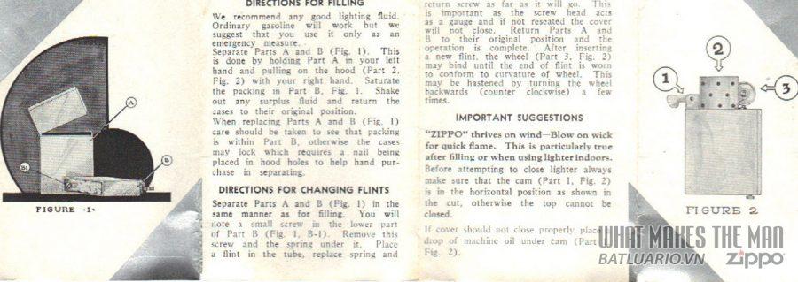 giấy hướng dẫn sử dụng zippo năm 1933-36 2