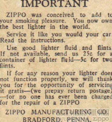 giấy hướng dẫn sử dụng zippo năm 1933-36 5