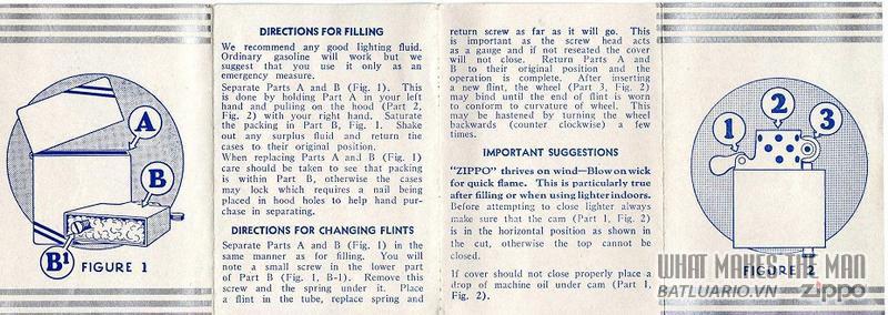 Giấy hướng dẫn sử dụng Zippo năm 1936 - 37 2