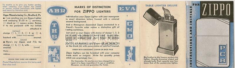 Giấy hướng dẫn sử dụng Zippo năm 1938-1939 1