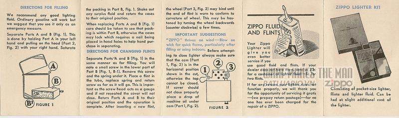 Giấy hướng dẫn sử dụng Zippo năm 1938-1939
