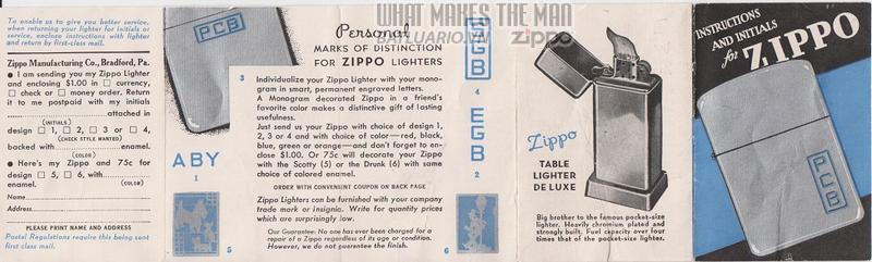 Giấy hướng dẫn sử dụng Zippo năm 1939 - 1940 2