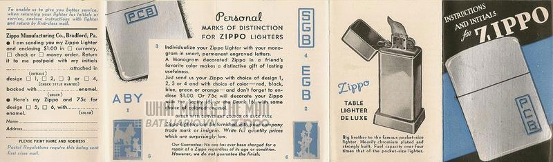 Giấy hướng dẫn sử dụng Zippo năm 1940-1941 1