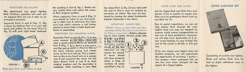 Giấy hướng dẫn sử dụng Zippo năm 1940-1941 2
