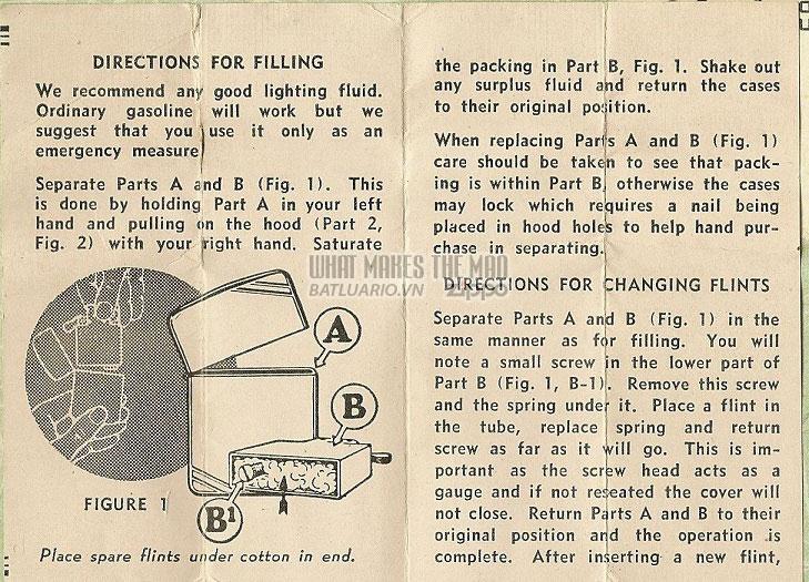 Giấy hướng dẫn sử dụng Zippo năm1942-1945 - chiến tranh thế giới thứ 2