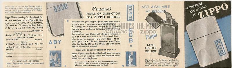 Giấy hướng dẫn sử dụng Zippo năm1946-1947 1