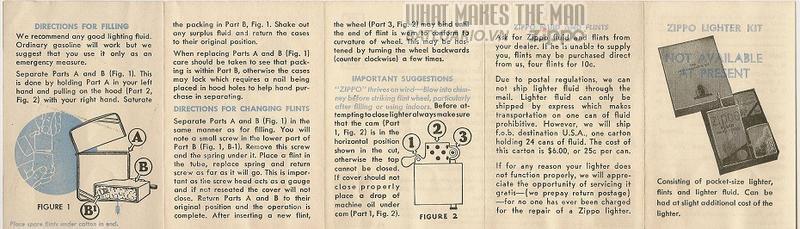 Giấy hướng dẫn sử dụng Zippo năm1946-1947 2