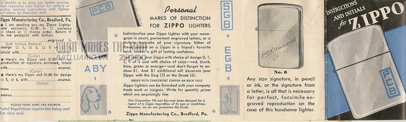 Giấy hướng dẫn sử dụng Zippo năm1948 - 1949 1