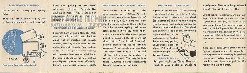 Giấy hướng dẫn sử dụng Zippo năm1948 - 1949 2