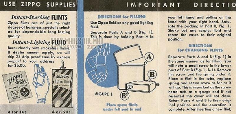 Giấy hướng dẫn sử dụng Zippo năm1949 - 1951 2