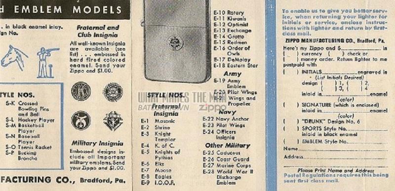 Giấy hướng dẫn sử dụng Zippo năm1949 - 1951 3