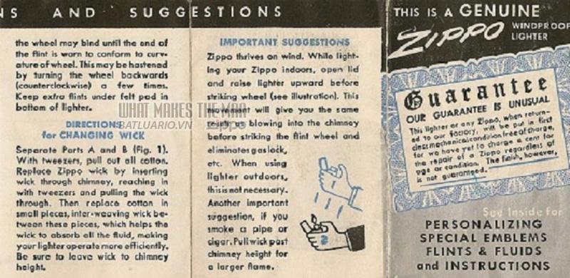 Giấy hướng dẫn sử dụng Zippo năm1949 - 1951 4