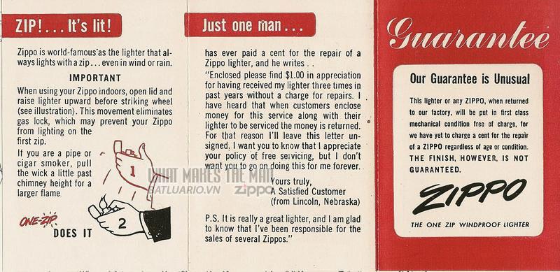 Giấy hướng dẫn sử dụng Zippo năm1951 - 1953 1