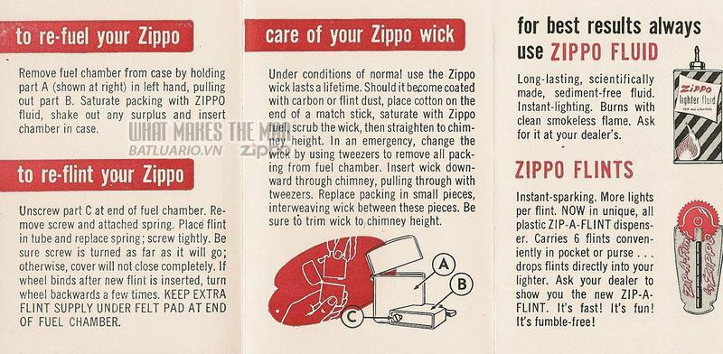 Giấy hướng dẫn sử dụng Zippo năm1951 - 1953 2