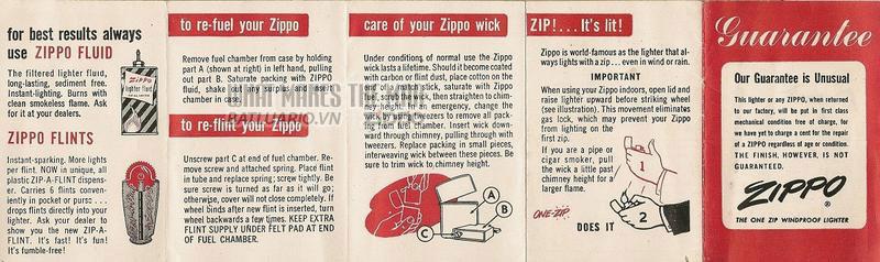 Giấy hướng dẫn sử dụng Zippo năm1953- 1956 1