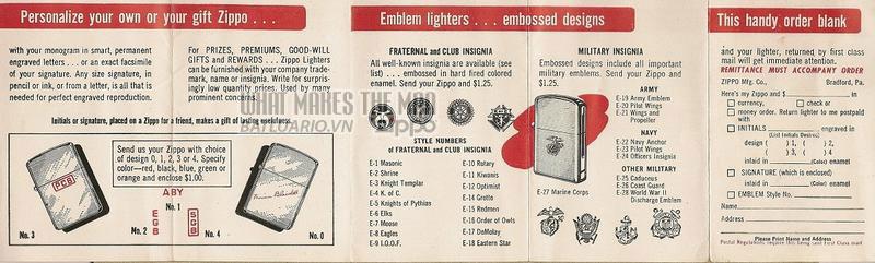 Giấy hướng dẫn sử dụng Zippo năm1953- 1956 2