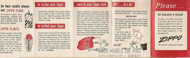 Giấy hướng dẫn sử dụng Zippo năm1956 - 1961 1