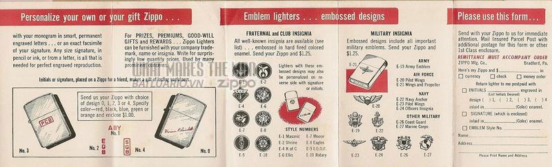 Giấy hướng dẫn sử dụng Zippo năm1956 - 1961 2