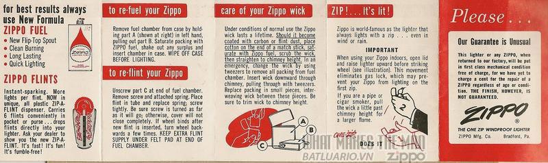 Giấy hướng dẫn sử dụng Zippo năm1961 - 1964 1