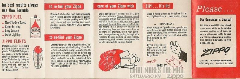 Giấy hướng dẫn sử dụng Zippo năm1964-1975 1