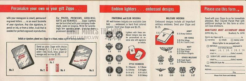 Giấy hướng dẫn sử dụng Zippo năm1964-1975 2