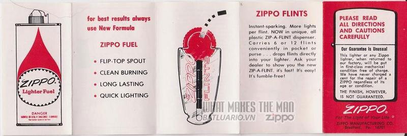 Giấy hướng dẫn sử dụng Zippo năm1975 - 79 1