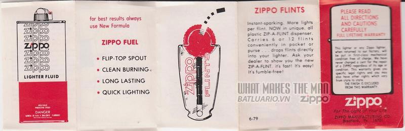 Giấy hướng dẫn sử dụng Zippo năm 1979 - 1989 1